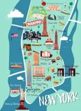 New York Manhattan Illustration Map.