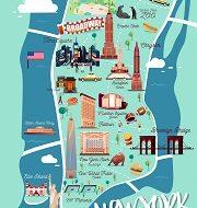 New York Manhattan Illustration Map.